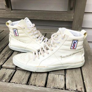 YSL Vintage White Patent Leather High Tops